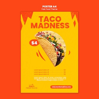 Szablon plakatu dla restauracji typu fast food