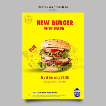 Szablon plakatu dla restauracji z burgerami