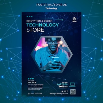 Szablon plakatu dla sklepu techno