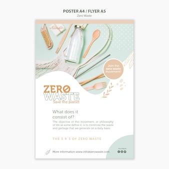 Szablon plakatu dla stylu życia zero marnotrawstwa