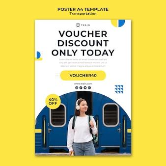 Szablon plakatu dla transportu publicznego pociągiem z kobietą