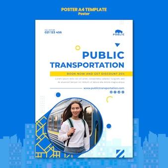 Szablon plakatu dla transportu publicznego z dojeżdżającą do pracy kobietą