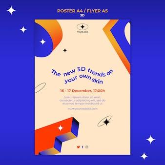 Szablon plakatu dla trendów 3d