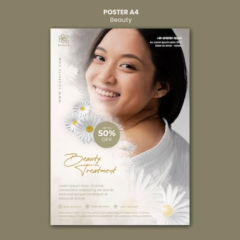 Szablon plakatu dla urody i spa z kwiatami kobiety i rumianku