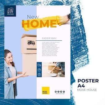 Szablon plakatu dla usług relokacji domu