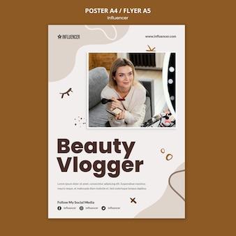 Szablon plakatu dla vloggera urody z młodą kobietą