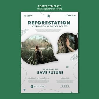 Szablon plakatu dnia lasów ze zdjęciem
