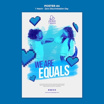 Szablon plakatu dnia monochromatycznego zero dyskryminacji