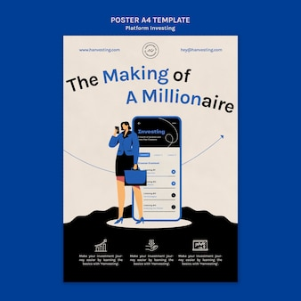 Szablon plakatu do inwestowania w platformę