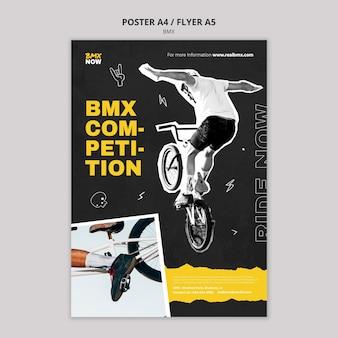 Szablon plakatu do jazdy na rowerze bmx z człowiekiem i rowerem