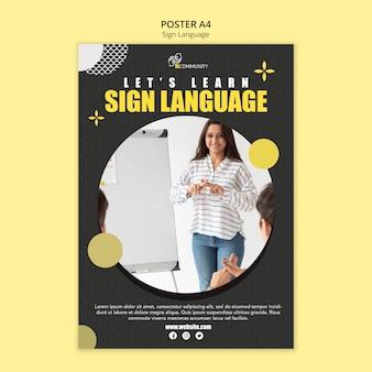 Szablon plakatu do komunikacji w języku migowym