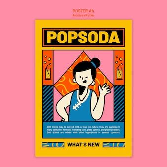 Szablon plakatu do napojów bezalkoholowych w nowoczesnym stylu vintage