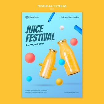 Szablon plakatu do odświeżania soku pomarańczowego w szklanych butelkach