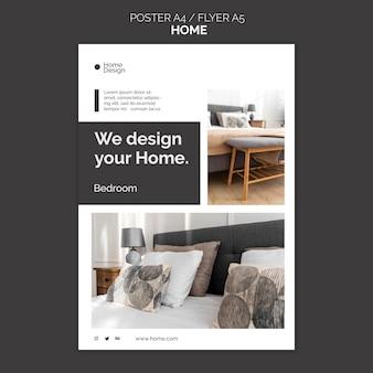 Szablon plakatu do projektowania wnętrz domu z meblami