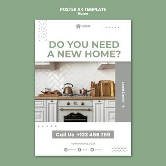 Szablon plakatu do projektowania wnętrz nowego domu