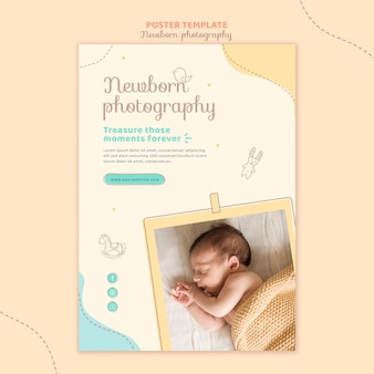 Szablon plakatu do sesji zdjęciowej ładny noworodka
