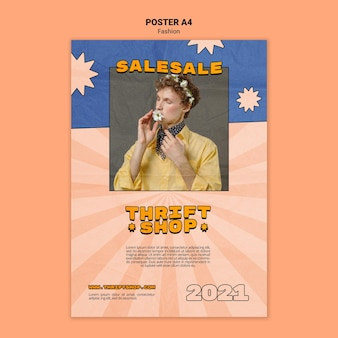 Szablon plakatu do sprzedaży mody w sklepie z używanymi rzeczami