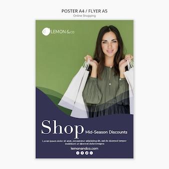 Szablon plakatu do sprzedaży online mody