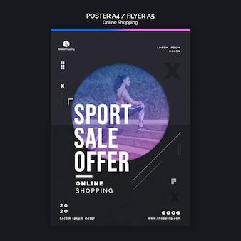 Szablon plakatu do zakupów sportowych w internecie