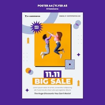 Szablon plakatu dużej sprzedaży e-commerce