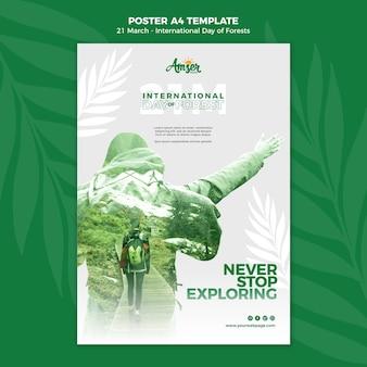 Szablon plakatu dzień kreatywnych lasów