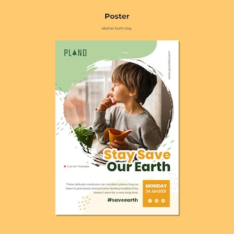 Szablon plakatu dzień matki ziemi ze zdjęciem