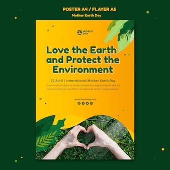 Szablon plakatu dzień matki ziemi