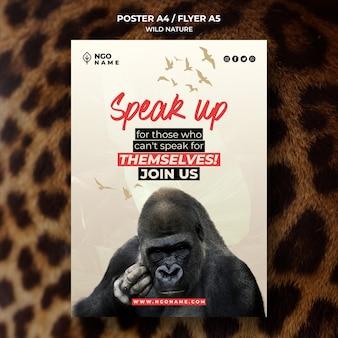 Szablon plakatu dzikiej przyrody ze zdjęciem goryla
