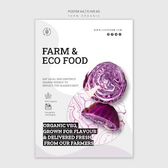 Szablon plakatu ekologicznego gospodarstwa