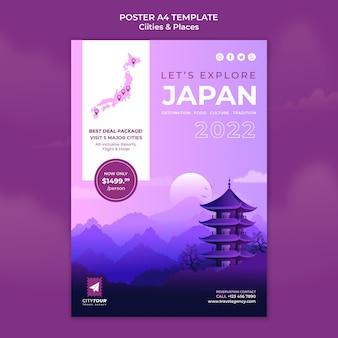 Szablon plakatu eksploracji japonii