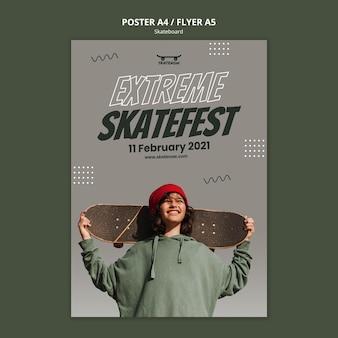Szablon plakatu ekstremalnego skatefestu