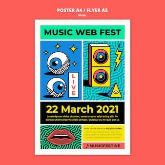 Szablon plakatu festiwalu muzyki internetowej