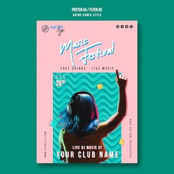 Szablon plakatu festiwalu muzyki w stylu komiksu anime