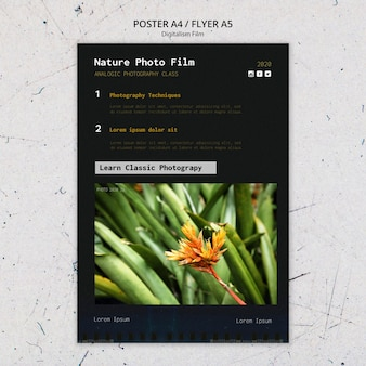 Szablon plakatu filmu fotograficznego natury