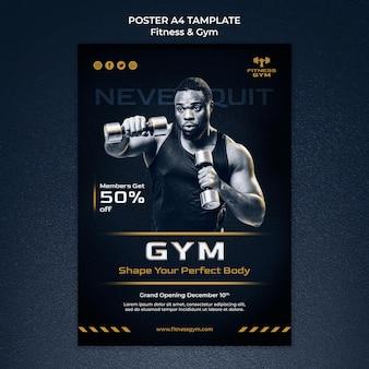 Szablon plakatu fitness i siłowni a4