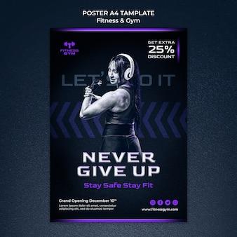 Szablon plakatu fitness i siłowni