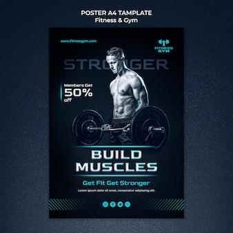 Szablon plakatu fitness siłowni