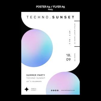 Szablon plakatu imprezy techno z zachodem słońca