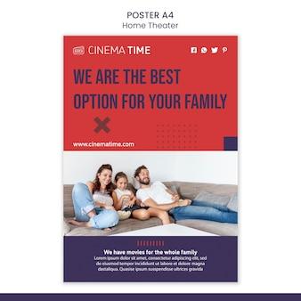 Szablon plakatu kina domowego ze zdjęciem