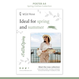 Szablon plakatu kolekcji ubrań wiosna