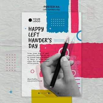 Szablon plakatu koncepcja dnia leworęcznych