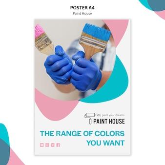 Szablon plakatu koncepcja domu farby