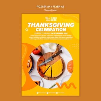 Szablon plakatu koncepcja dziękczynienia