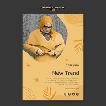 Szablon plakatu koncepcja hidżabu