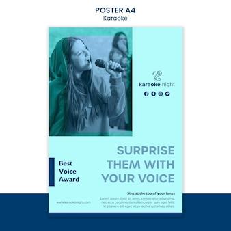 Szablon plakatu koncepcja karaoke