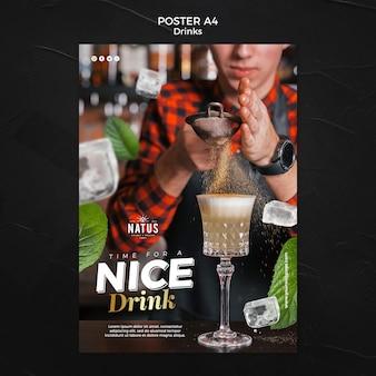 Szablon plakatu koncepcja napojów