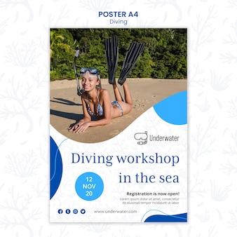 Szablon plakatu koncepcja nurkowania