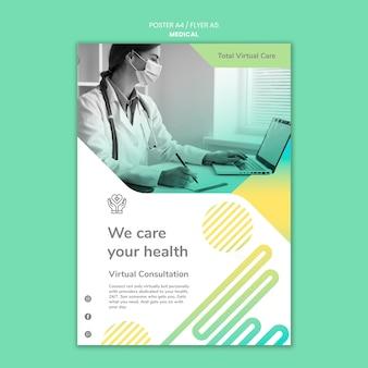 Szablon plakatu koncepcja opieki zdrowotnej
