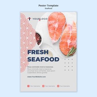 Szablon plakatu koncepcja owoce morza