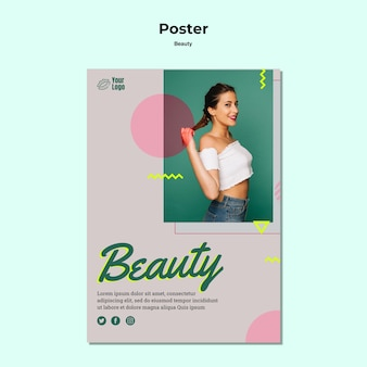 Szablon plakatu koncepcja piękna